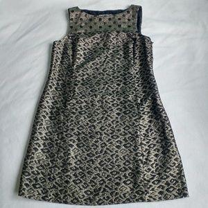 Tibi Black And Gold Animal Print Shift Dress